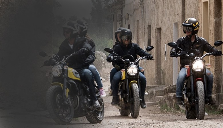 Rent motorcycles Ducati Scrambler in Milan Rome Venice Florence Bologna